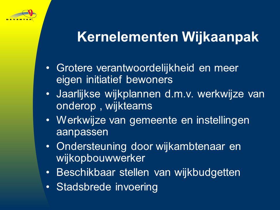 Kernelementen Wijkaanpak Grotere verantwoordelijkheid en meer eigen initiatief bewoners Jaarlijkse wijkplannen d.m.v.