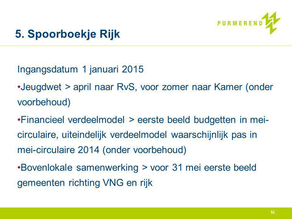 5. Spoorboekje Rijk Ingangsdatum 1 januari 2015 Jeugdwet > april naar RvS, voor zomer naar Kamer (onder voorbehoud) Financieel verdeelmodel > eerste b