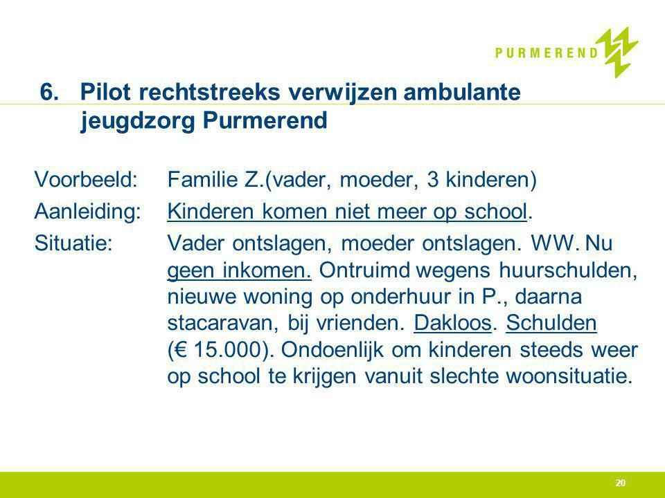 20 6. Pilot rechtstreeks verwijzen ambulante jeugdzorg Purmerend Voorbeeld:Familie Z.(vader, moeder, 3 kinderen) Aanleiding: Kinderen komen niet meer