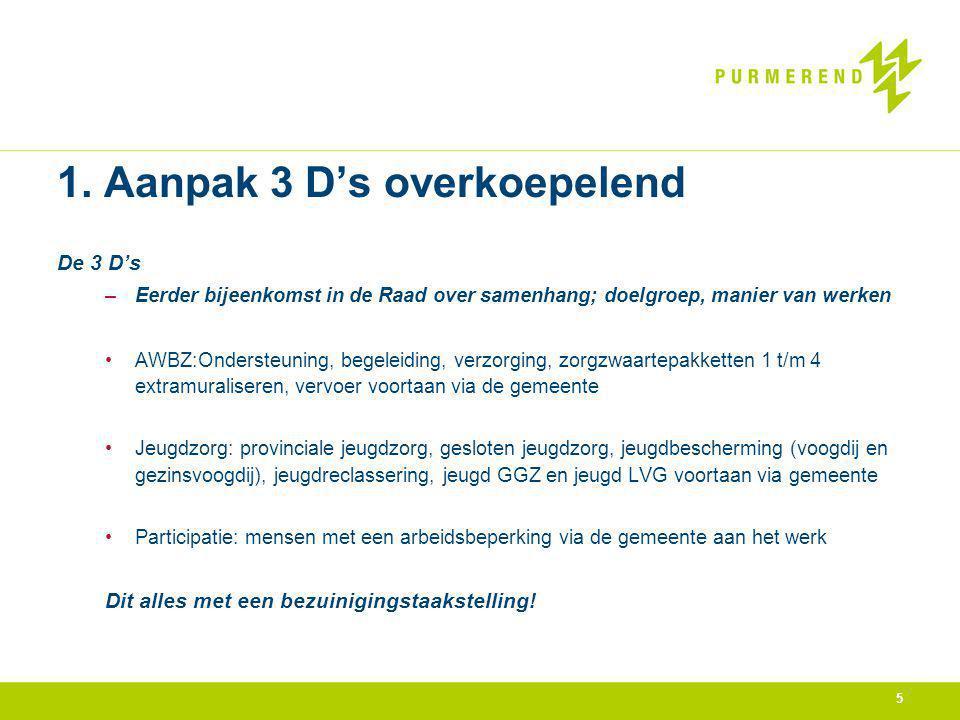 5 1. Aanpak 3 D's overkoepelend De 3 D's –Eerder bijeenkomst in de Raad over samenhang; doelgroep, manier van werken AWBZ:Ondersteuning, begeleiding,