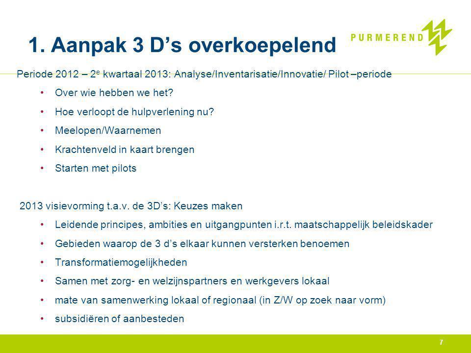 7 1. Aanpak 3 D's overkoepelend Periode 2012 – 2 e kwartaal 2013: Analyse/Inventarisatie/Innovatie/ Pilot –periode Over wie hebben we het? Hoe verloop
