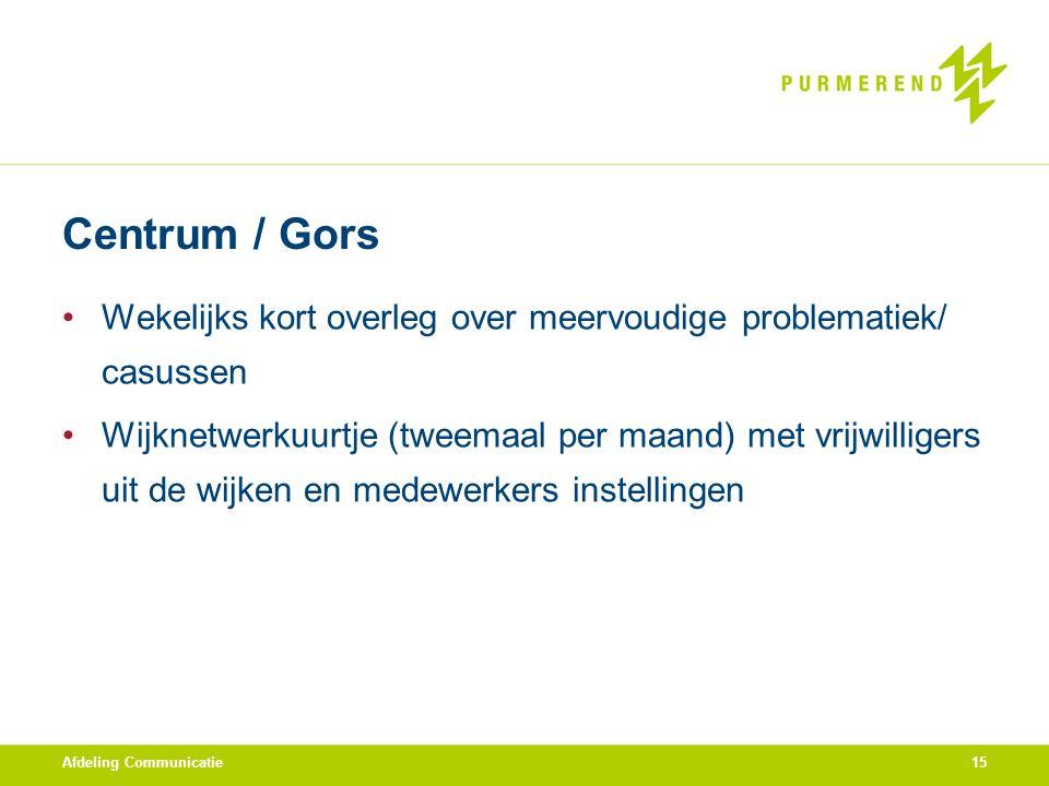Centrum / Gors Wekelijks kort overleg over meervoudige problematiek/ casussen Wijknetwerkuurtje (tweemaal per maand) met vrijwilligers uit de wijken e