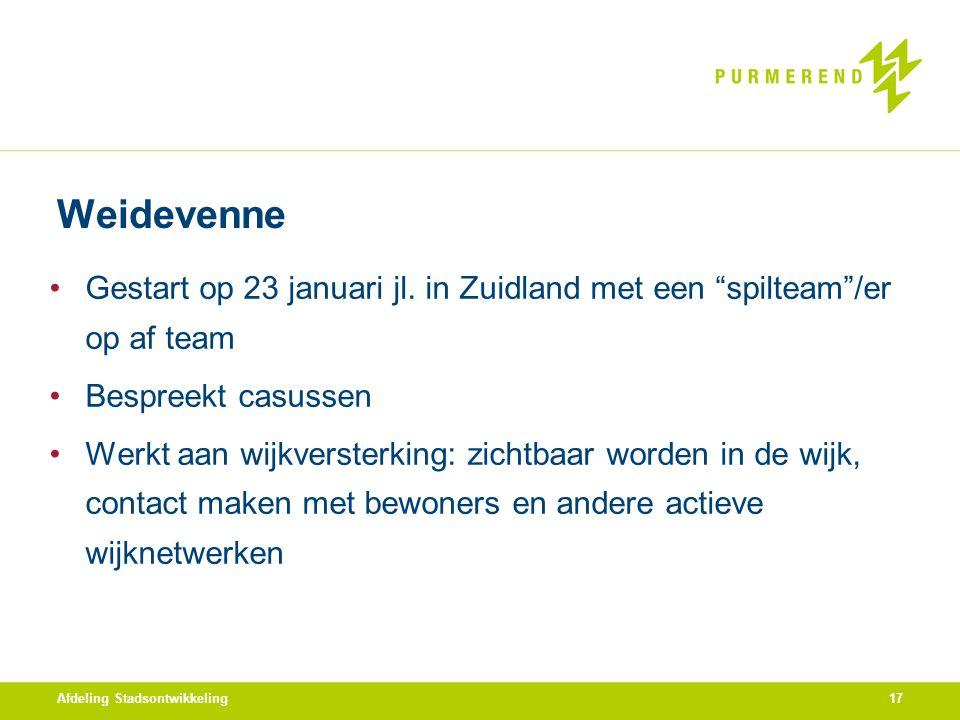 """Weidevenne Gestart op 23 januari jl. in Zuidland met een """"spilteam""""/er op af team Bespreekt casussen Werkt aan wijkversterking: zichtbaar worden in de"""