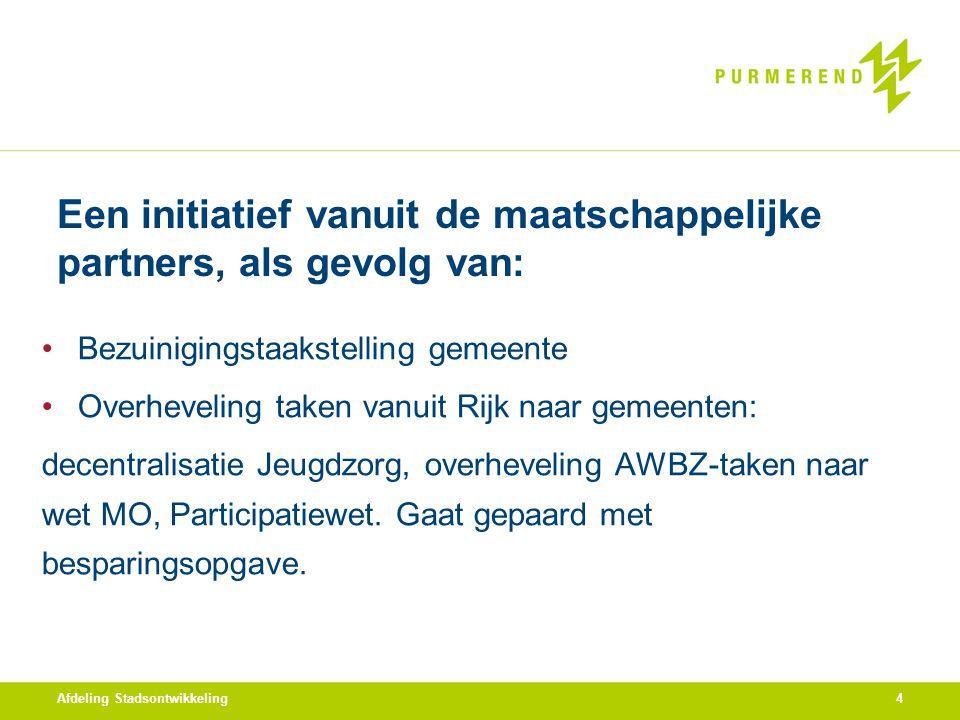 Een initiatief vanuit de maatschappelijke partners, als gevolg van: Bezuinigingstaakstelling gemeente Overheveling taken vanuit Rijk naar gemeenten: d