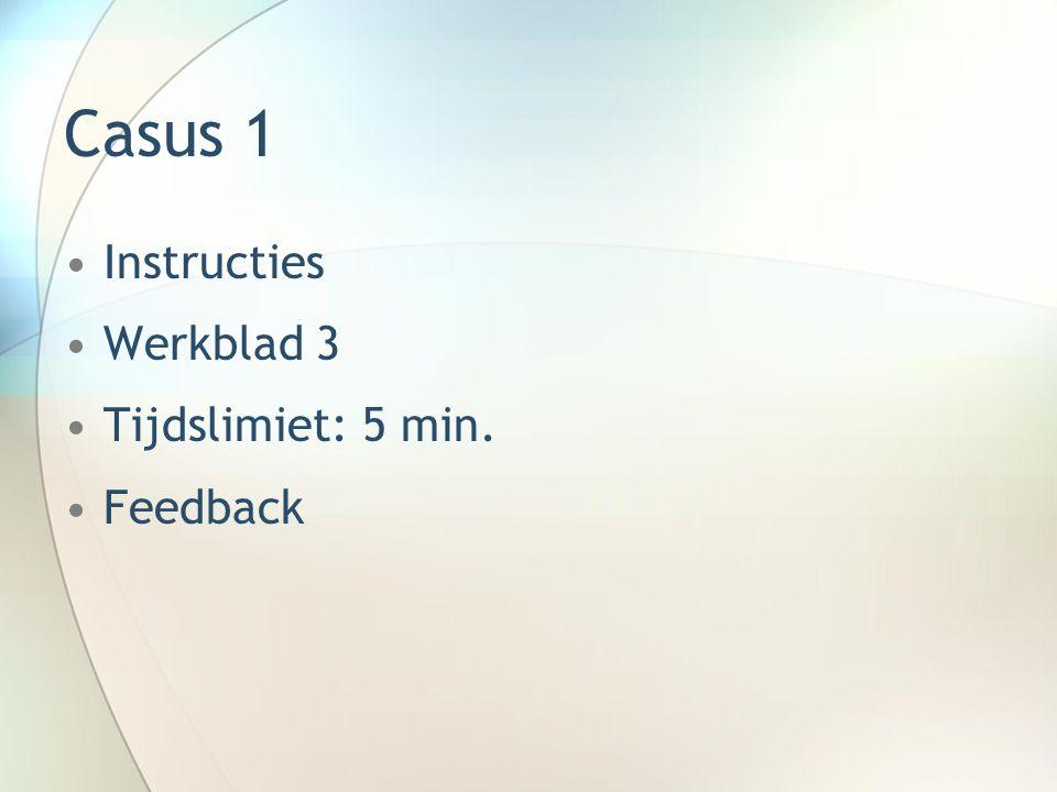 Casus 1 Instructies Werkblad 3 Tijdslimiet: 5 min. Feedback