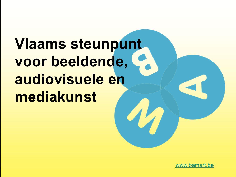 kunstensteunpunten: VTi, Muziekcentrum Vl., VAi en BAM informeren, stimuleren documenteren, onderzoeken voor de volledige professionele audiovisuele, beeldende en mediakunstensector www.bamart.be