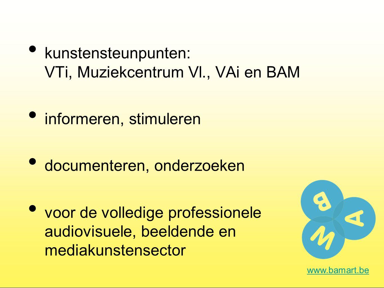 Onderzoek www.bamart.be Het audiovisuele werkveld in Vlaanderen: een analyse Cijfers verzamelen: Evoluties in de beeldende en audiovisuele kunsten in kaart te brengen en te analyseren adhv kwantitatieve gegevens zoals subsidiebedragen en eigen inkomsten Archipel: Network-centric approach to sustainable digital archives wordt gewerkt rond de technische en organisatorische uitdagingen van digitale langetermijnarchivering....
