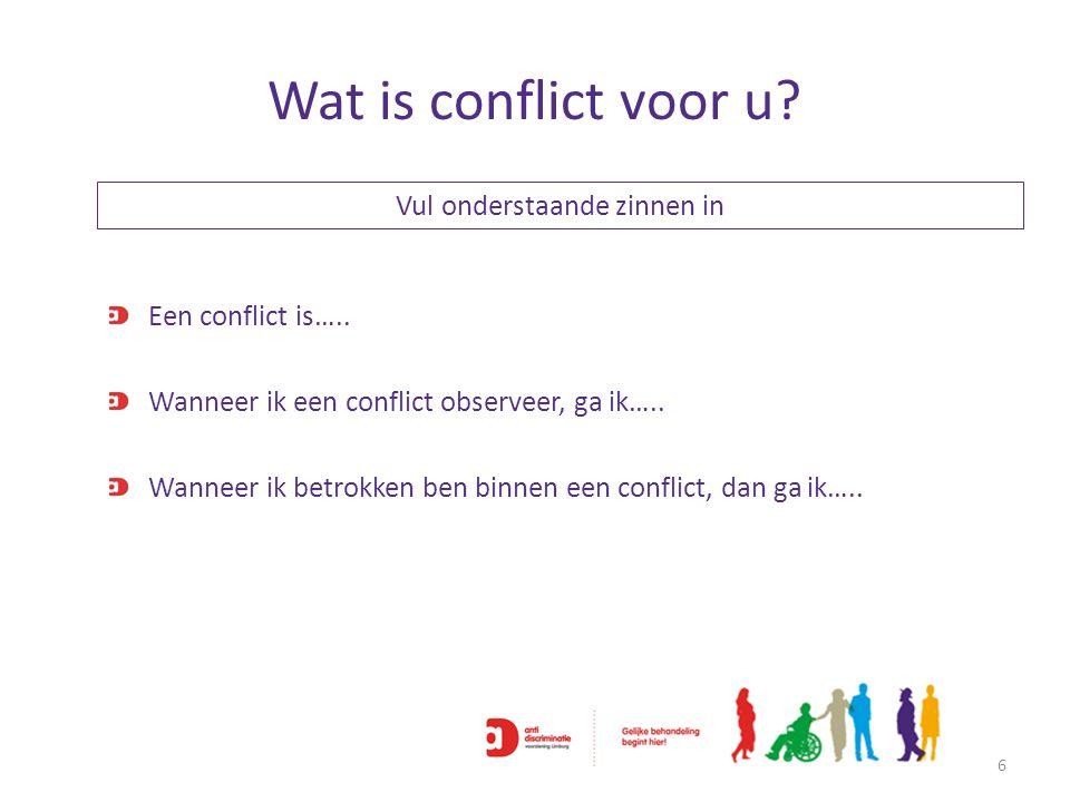 Wat is conflict voor u? 6 Een conflict is….. Wanneer ik een conflict observeer, ga ik….. Wanneer ik betrokken ben binnen een conflict, dan ga ik….. Vu