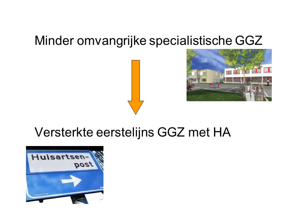Minder omvangrijke specialistische GGZ Versterkte eerstelijns GGZ met HA