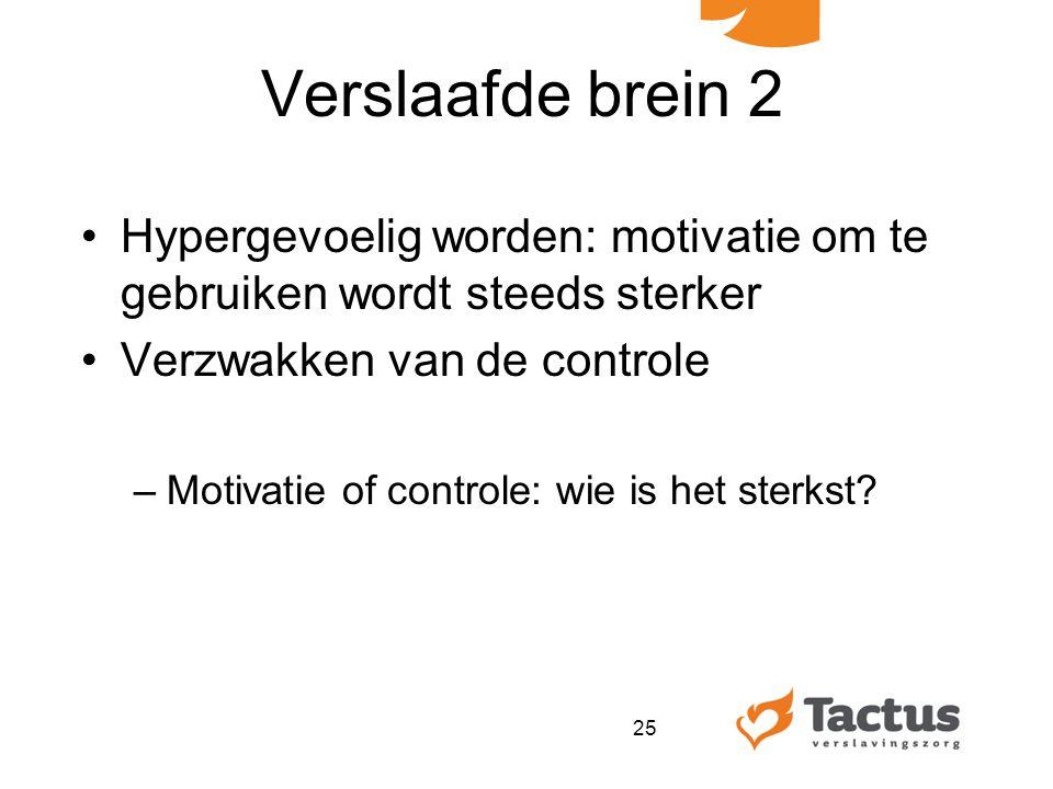 Verslaafde brein 2 Hypergevoelig worden: motivatie om te gebruiken wordt steeds sterker Verzwakken van de controle –Motivatie of controle: wie is het sterkst.