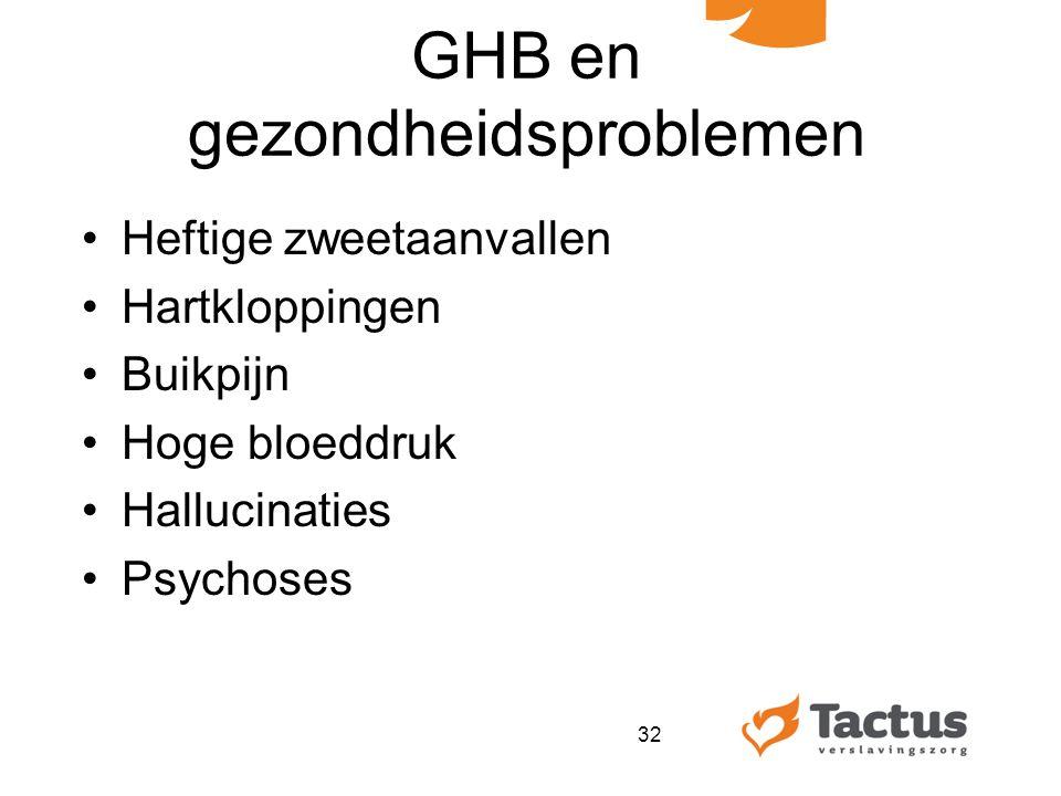 GHB en gezondheidsproblemen Heftige zweetaanvallen Hartkloppingen Buikpijn Hoge bloeddruk Hallucinaties Psychoses 32