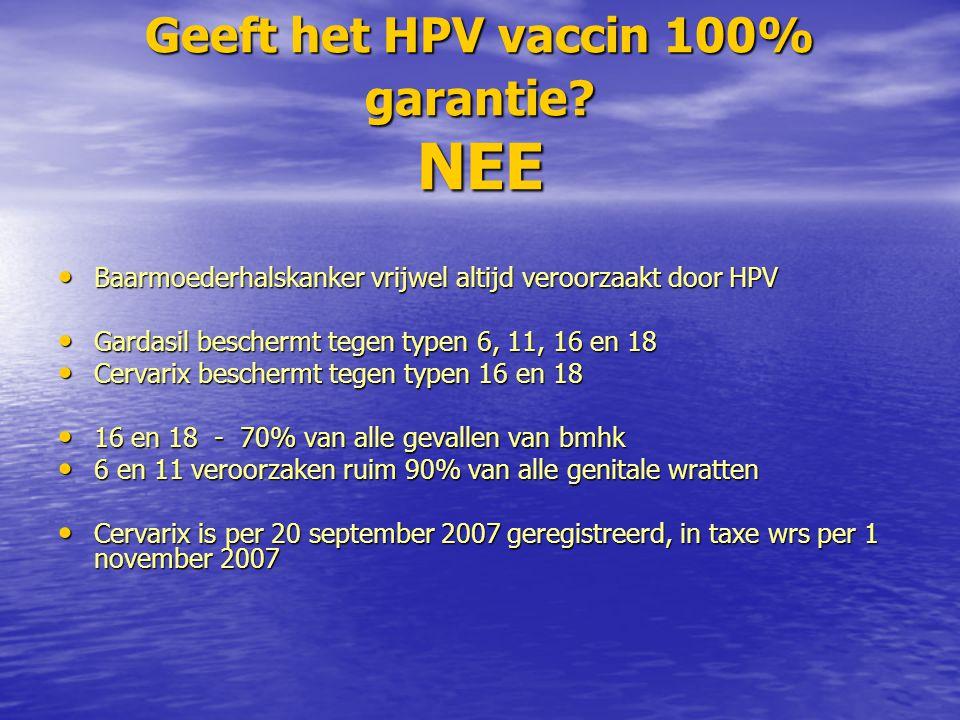 Geeft het HPV vaccin 100% garantie.
