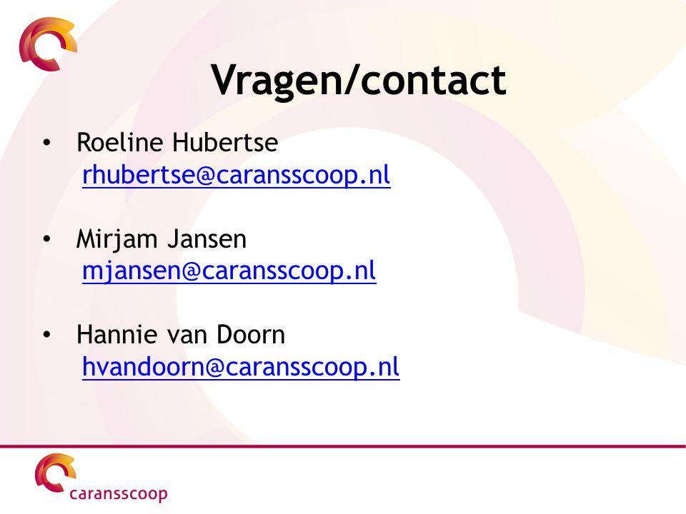 Vragen/contact Roeline Hubertse rhubertse@caransscoop.nl Mirjam Jansen mjansen@caransscoop.nl Hannie van Doorn hvandoorn@caransscoop.nl