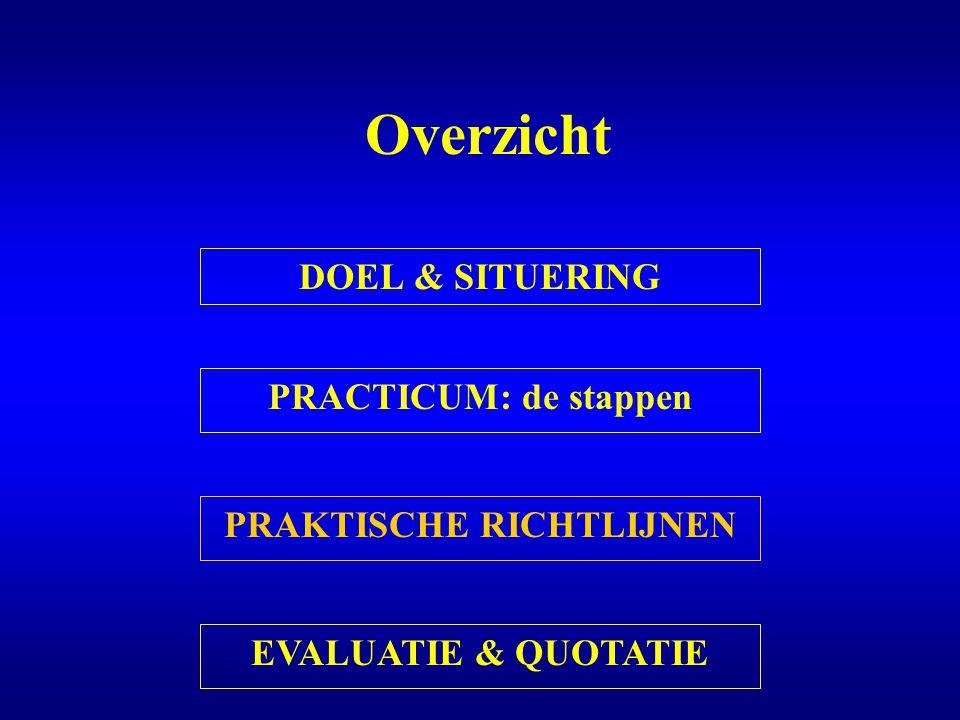 Overzicht DOEL & SITUERING PRACTICUM: de stappen PRAKTISCHE RICHTLIJNEN EVALUATIE & QUOTATIE