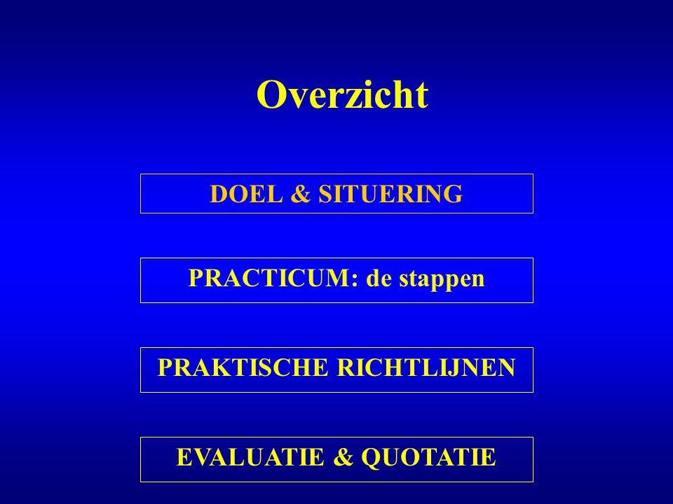 Evaluatie & quotatie Eindverslag Voorbereiding Inzet en manier van werken Theoretische sessies PAS OP: Dit practicum heeft een grote impact op de eindquotatie !!!