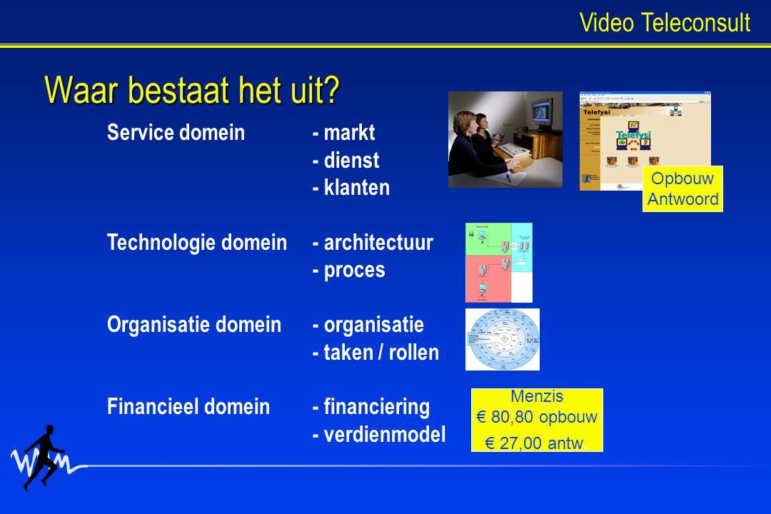 Waar bestaat het uit? Service domein- markt - dienst - klanten Technologie domein- architectuur - proces Organisatie domein- organisatie - taken / rol