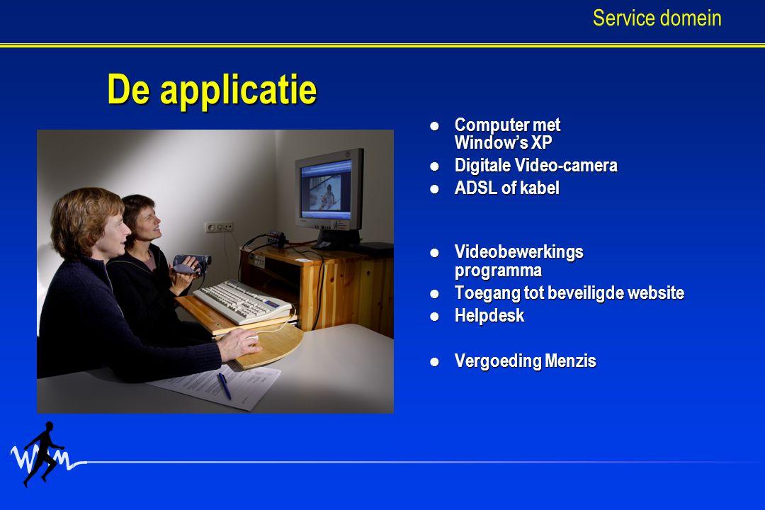 De applicatie Computer met Window's XP Computer met Window's XP Digitale Video-camera Digitale Video-camera ADSL of kabel ADSL of kabel Videobewerkings programma Videobewerkings programma Toegang tot beveiligde website Toegang tot beveiligde website Helpdesk Helpdesk Vergoeding Menzis Vergoeding Menzis Service domein