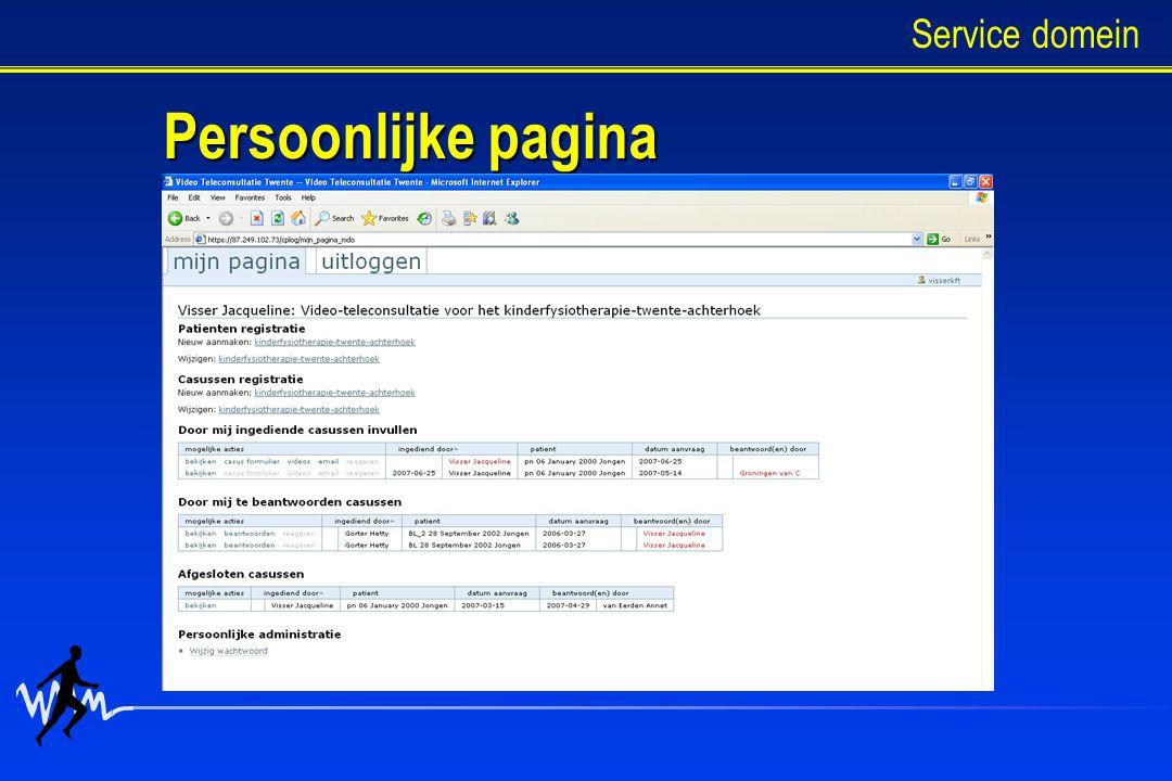Persoonlijke pagina Service domein