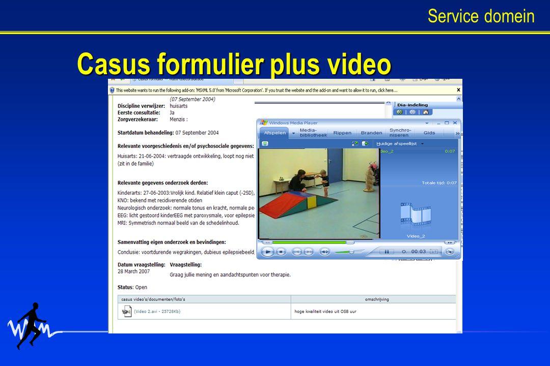 Casus formulier plus video Service domein