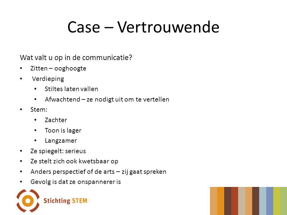 Case – Vertrouwende Wat valt u op in de communicatie? Zitten – ooghoogte Verdieping Stiltes laten vallen Afwachtend – ze nodigt uit om te vertellen St