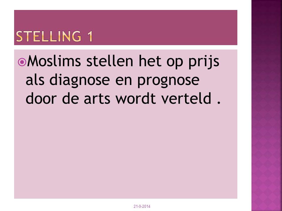  Moslims stellen het op prijs als diagnose en prognose door de arts wordt verteld. 21-9-2014