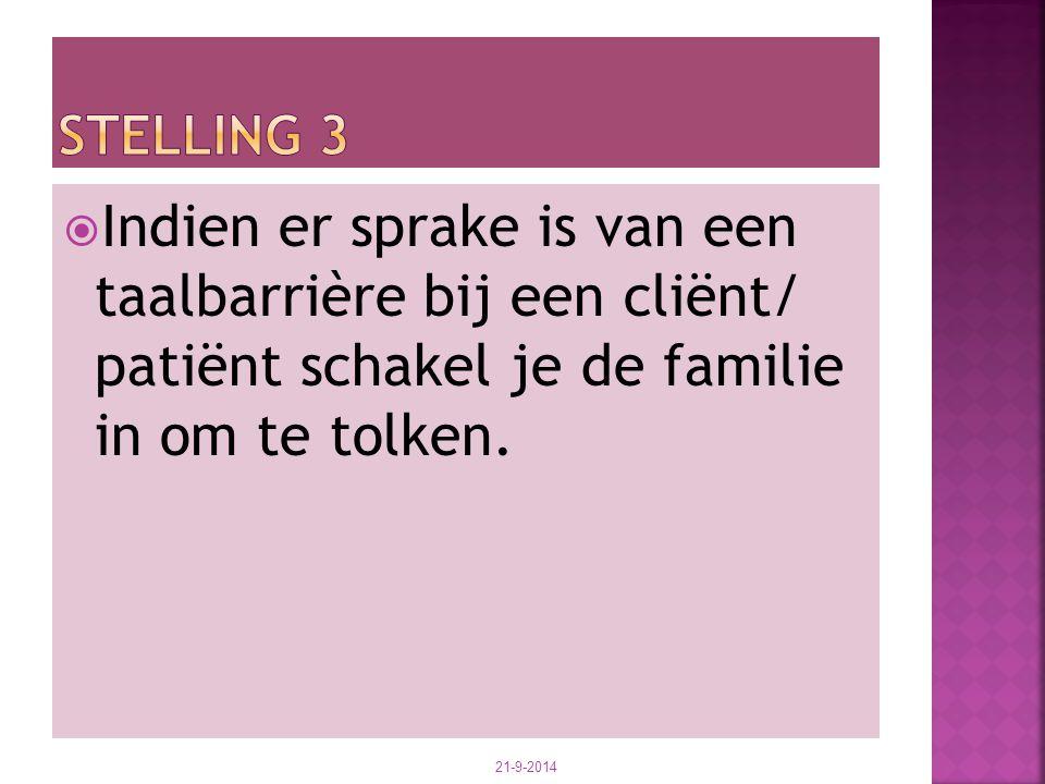  Indien er sprake is van een taalbarrière bij een cliënt/ patiënt schakel je de familie in om te tolken. 21-9-2014