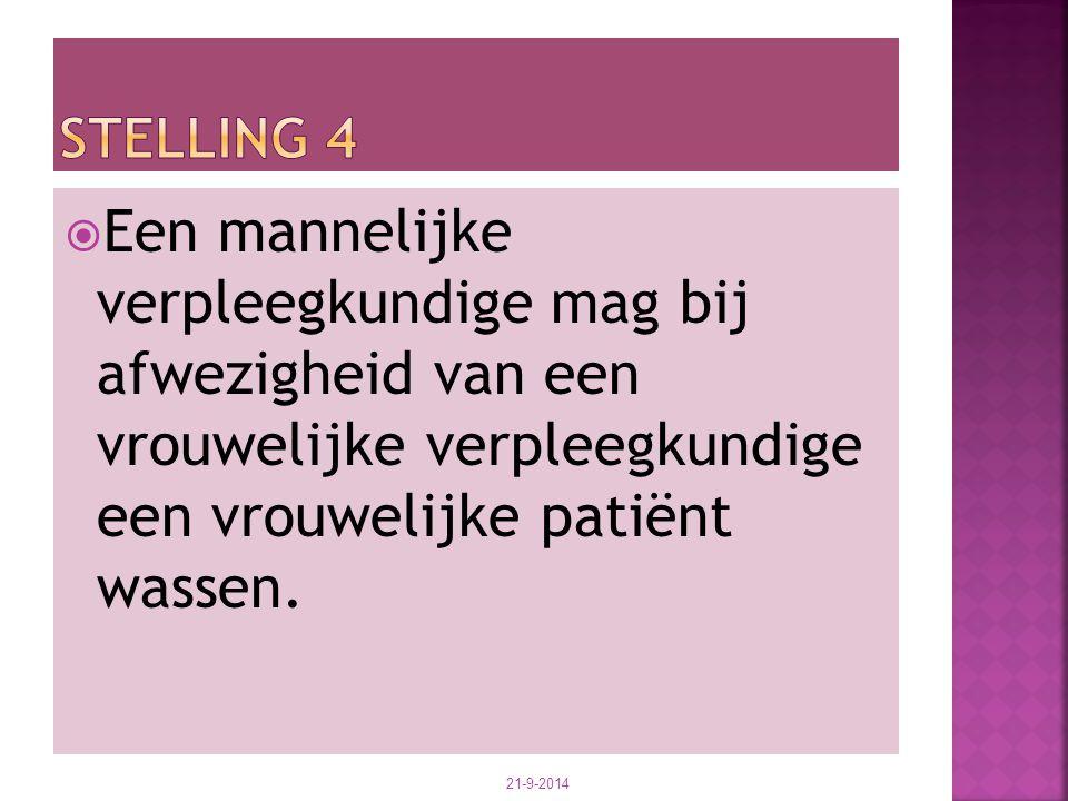  Een mannelijke verpleegkundige mag bij afwezigheid van een vrouwelijke verpleegkundige een vrouwelijke patiënt wassen. 21-9-2014