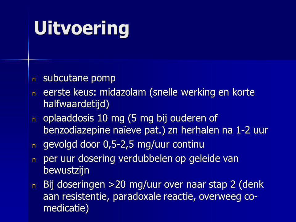 Uitvoering n subcutane pomp n eerste keus: midazolam (snelle werking en korte halfwaardetijd) n oplaaddosis 10 mg (5 mg bij ouderen of benzodiazepine