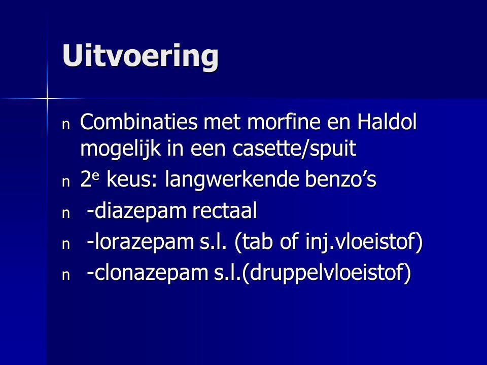 Uitvoering n Combinaties met morfine en Haldol mogelijk in een casette/spuit n 2 e keus: langwerkende benzo's n -diazepam rectaal n -lorazepam s.l. (t