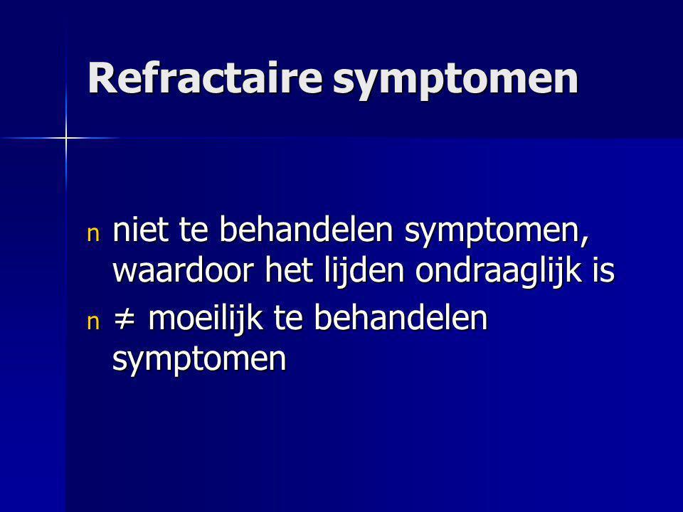 Refractaire symptomen n niet te behandelen symptomen, waardoor het lijden ondraaglijk is n ≠ moeilijk te behandelen symptomen