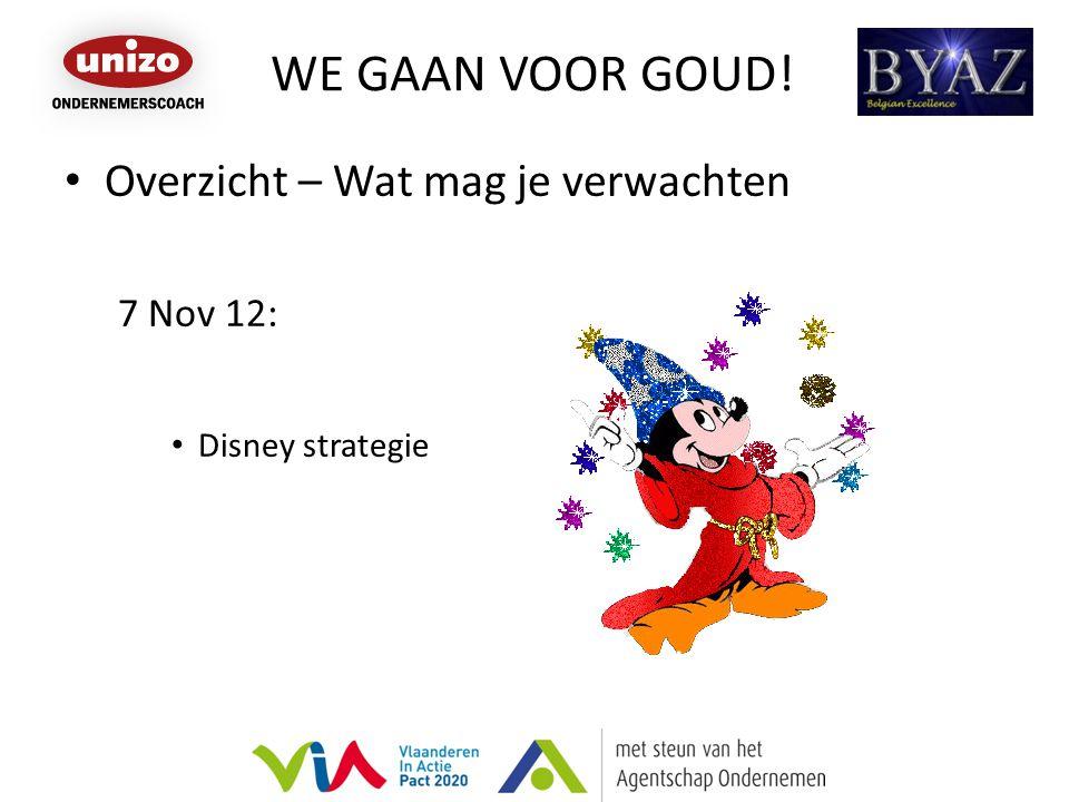 WE GAAN VOOR GOUD! Overzicht – Wat mag je verwachten 7 Nov 12: Disney strategie