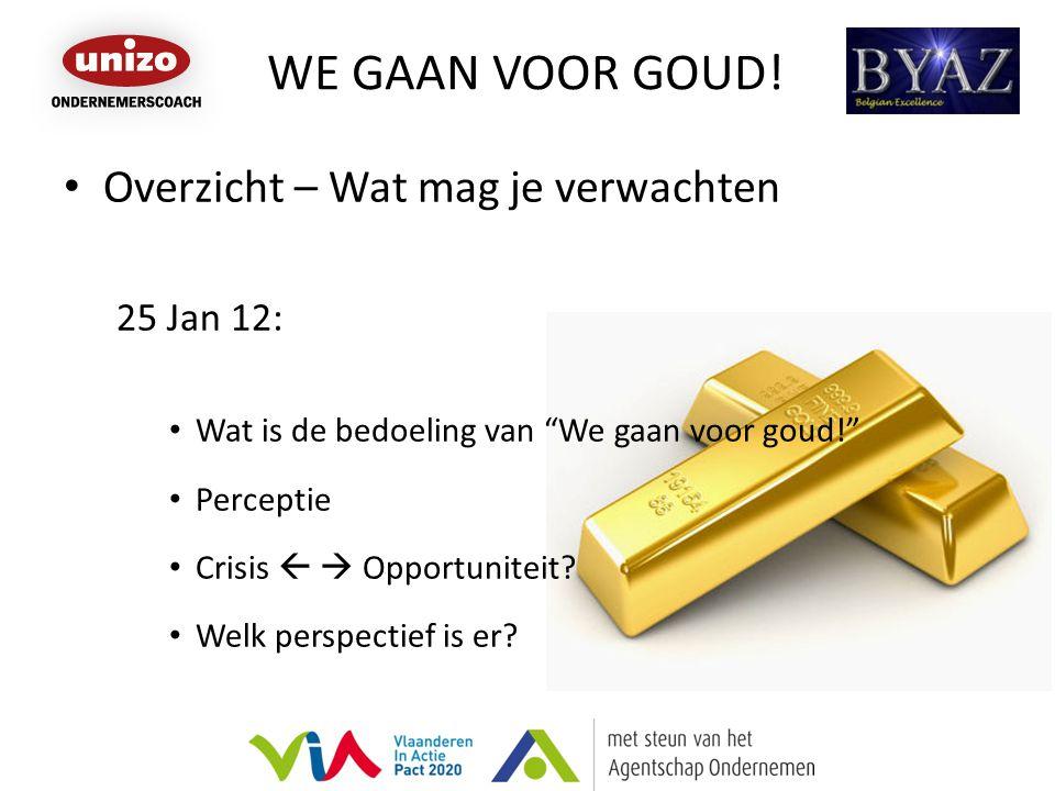 """WE GAAN VOOR GOUD! Overzicht – Wat mag je verwachten 25 Jan 12: Wat is de bedoeling van """"We gaan voor goud!"""" Perceptie Crisis   Opportuniteit? Welk"""