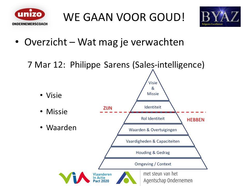 WE GAAN VOOR GOUD! Overzicht – Wat mag je verwachten 7 Mar 12: Philippe Sarens (Sales-intelligence) Visie Missie Waarden