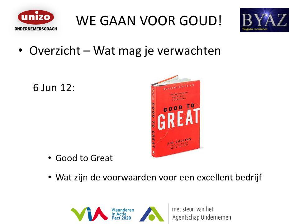 WE GAAN VOOR GOUD! Overzicht – Wat mag je verwachten 6 Jun 12: Good to Great Wat zijn de voorwaarden voor een excellent bedrijf