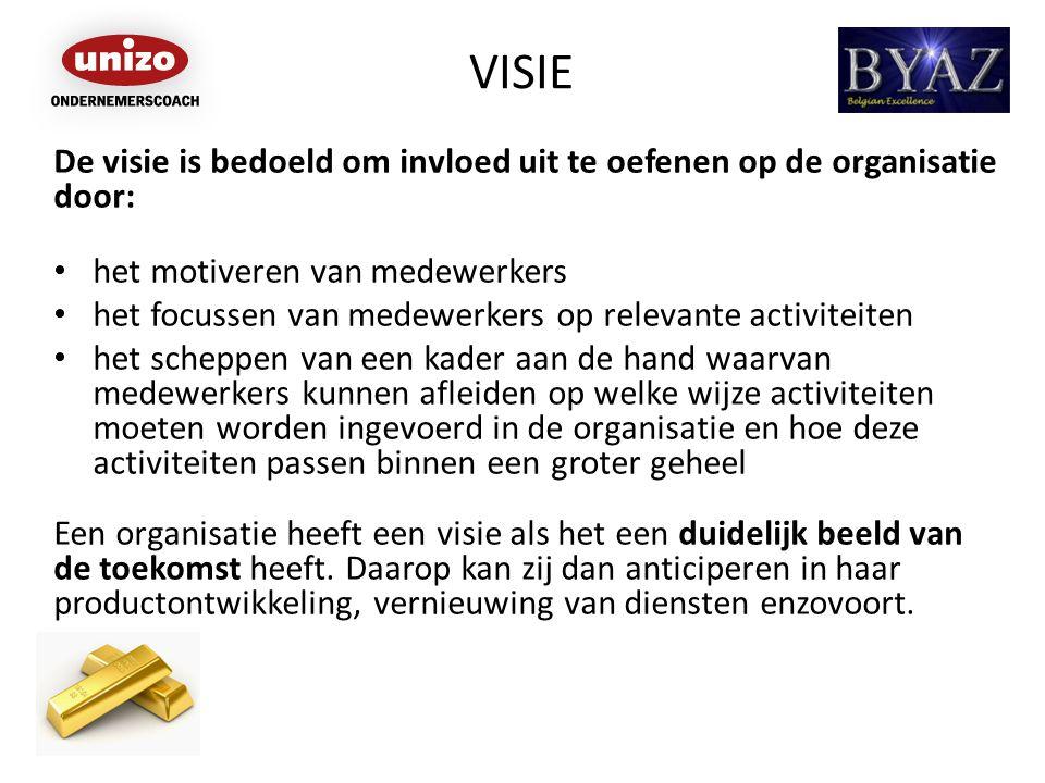 VISIE De visie is bedoeld om invloed uit te oefenen op de organisatie door: het motiveren van medewerkers het focussen van medewerkers op relevante ac