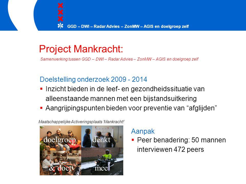 Project Mankracht: Doelstelling onderzoek 2009 - 2014  Inzicht bieden in de leef- en gezondheidssituatie van alleenstaande mannen met een bijstandsui