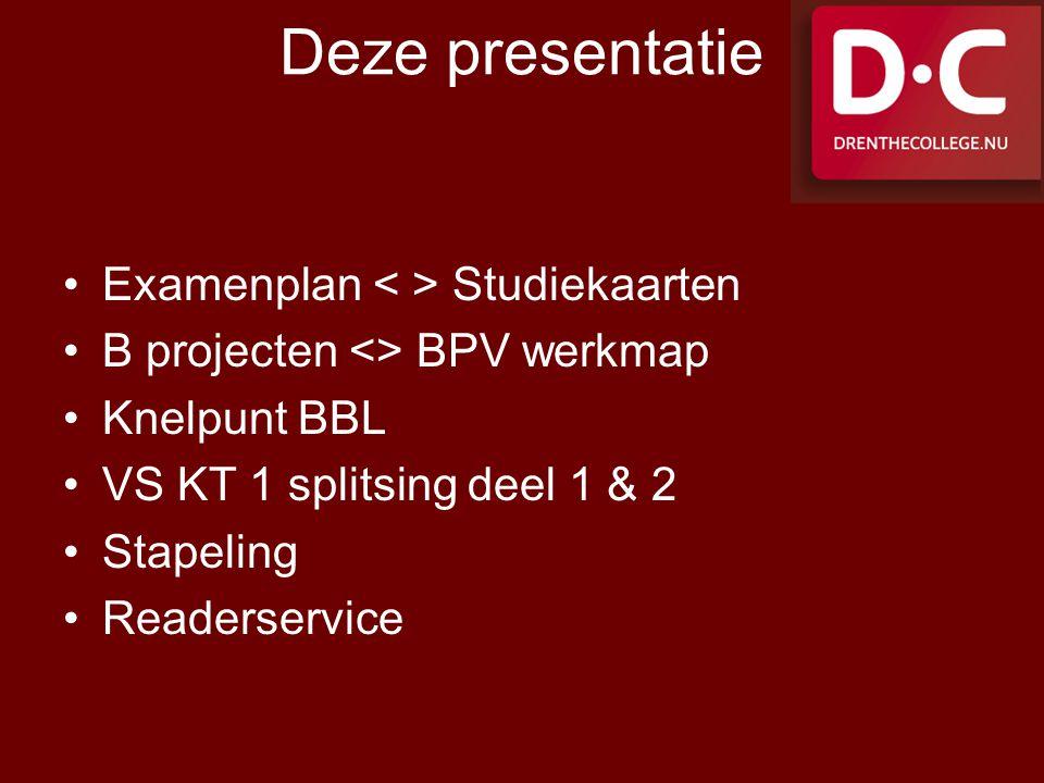 Deze presentatie Examenplan Studiekaarten B projecten <> BPV werkmap Knelpunt BBL VS KT 1 splitsing deel 1 & 2 Stapeling Readerservice