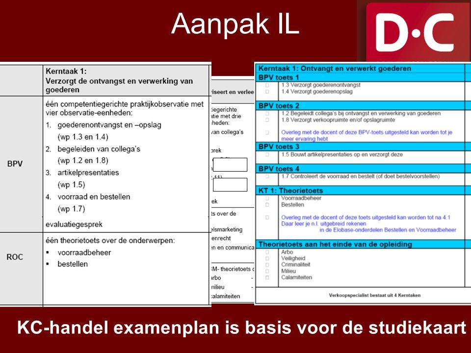 Aanpak IL KC-handel examenplan is basis voor de studiekaart