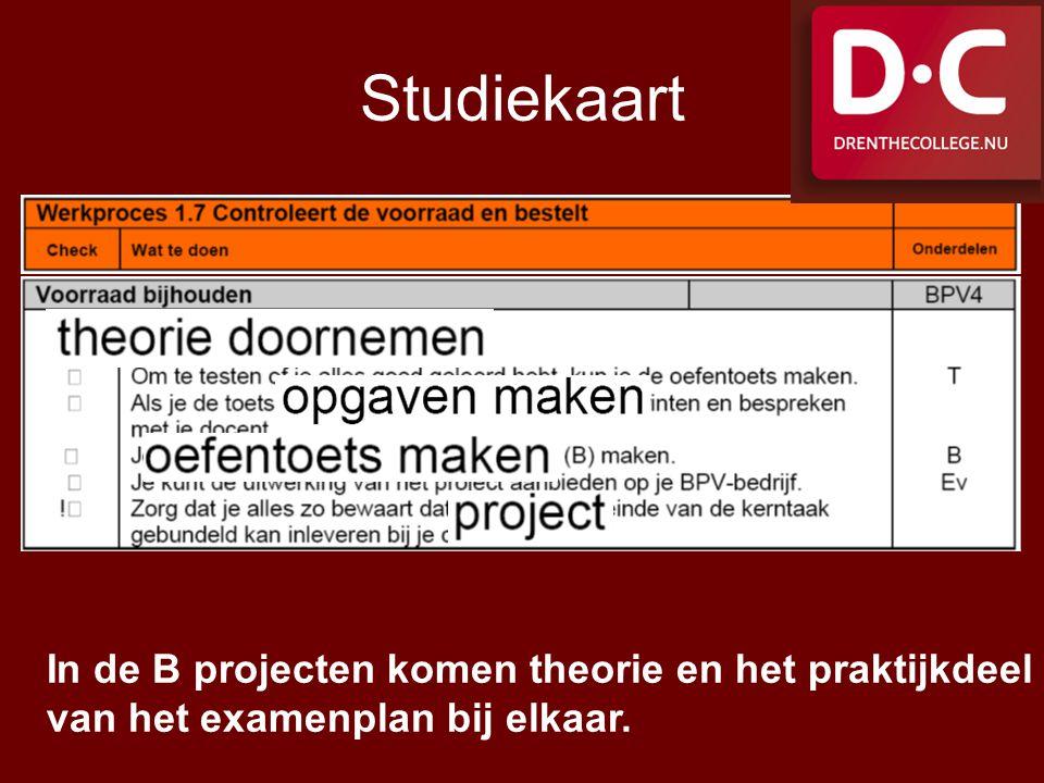 Studiekaart In de B projecten komen theorie en het praktijkdeel van het examenplan bij elkaar.