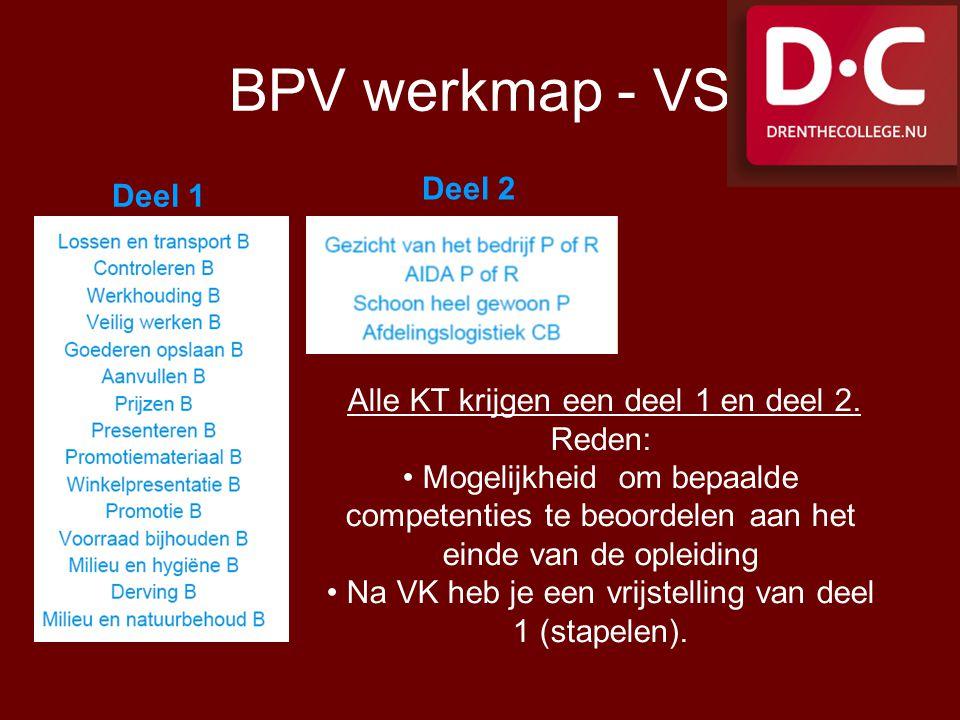 BPV werkmap - VS Deel 1 Deel 2 Alle KT krijgen een deel 1 en deel 2. Reden: Mogelijkheid om bepaalde competenties te beoordelen aan het einde van de o
