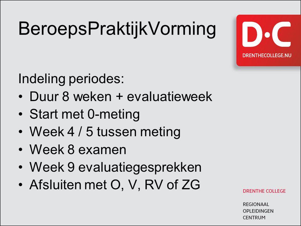 BeroepsPraktijkVorming Indeling periodes: Duur 8 weken + evaluatieweek Start met 0-meting Week 4 / 5 tussen meting Week 8 examen Week 9 evaluatiegesprekken Afsluiten met O, V, RV of ZG