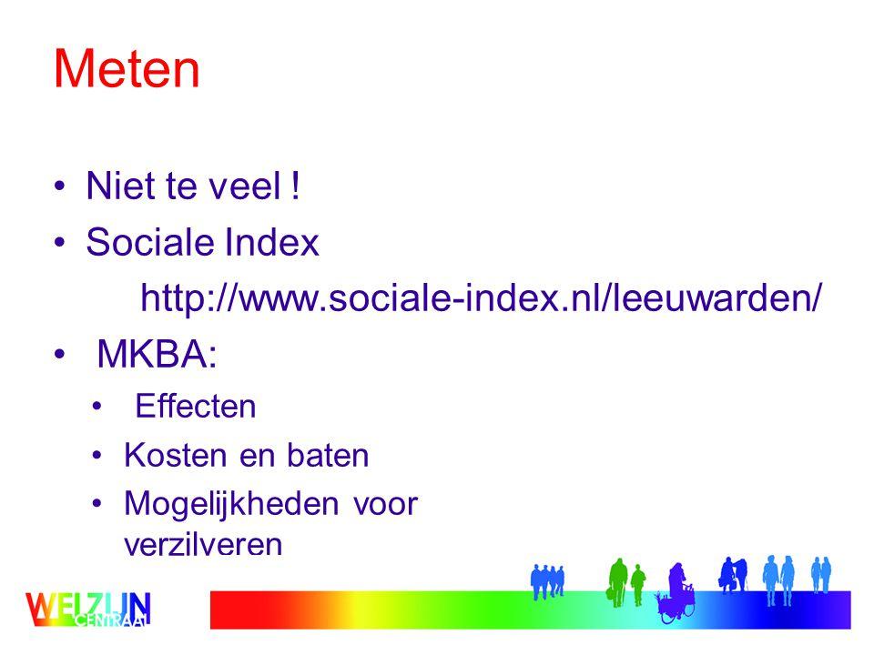 Meten Niet te veel ! Sociale Index http://www.sociale-index.nl/leeuwarden/ MKBA: Effecten Kosten en baten Mogelijkheden voor verzilveren