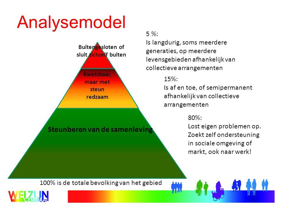 Analysemodel Steunberen van de samenleving Kwetsbaar, maar met steun redzaam Buitengesloten of sluit zichzelf buiten 80%: Lost eigen problemen op.