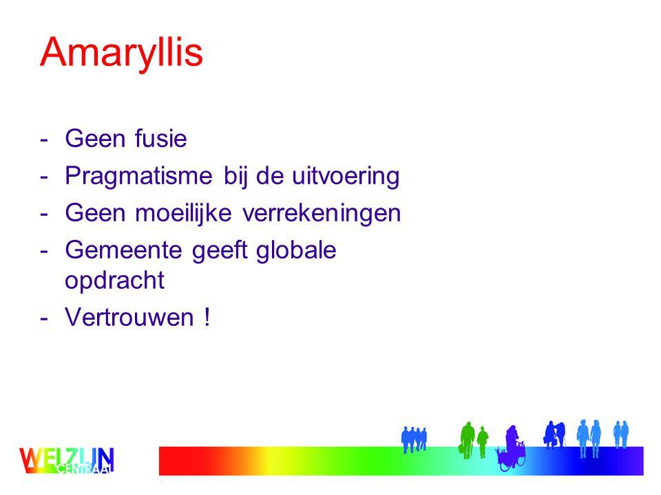 Amaryllis -Geen fusie -Pragmatisme bij de uitvoering -Geen moeilijke verrekeningen -Gemeente geeft globale opdracht -Vertrouwen !