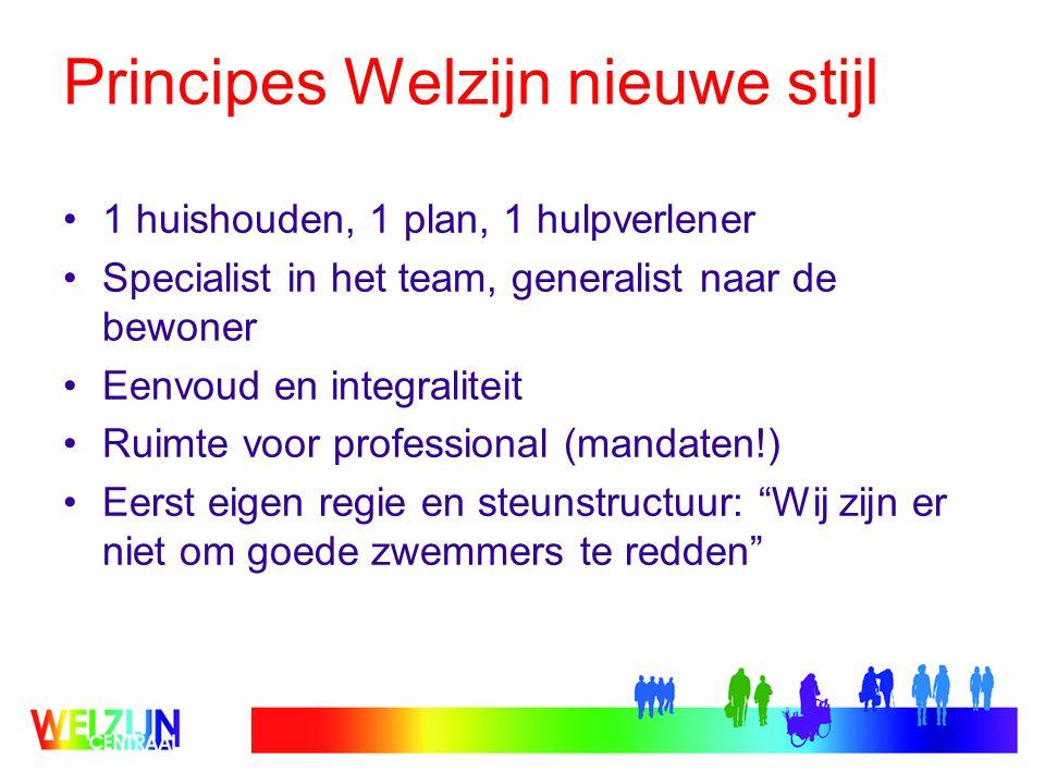 Principes Welzijn nieuwe stijl 1 huishouden, 1 plan, 1 hulpverlener Specialist in het team, generalist naar de bewoner Eenvoud en integraliteit Ruimte voor professional (mandaten!) Eerst eigen regie en steunstructuur: Wij zijn er niet om goede zwemmers te redden