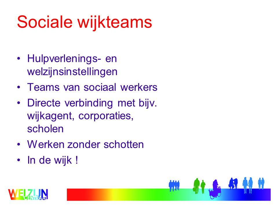 Sociale wijkteams Hulpverlenings- en welzijnsinstellingen Teams van sociaal werkers Directe verbinding met bijv.