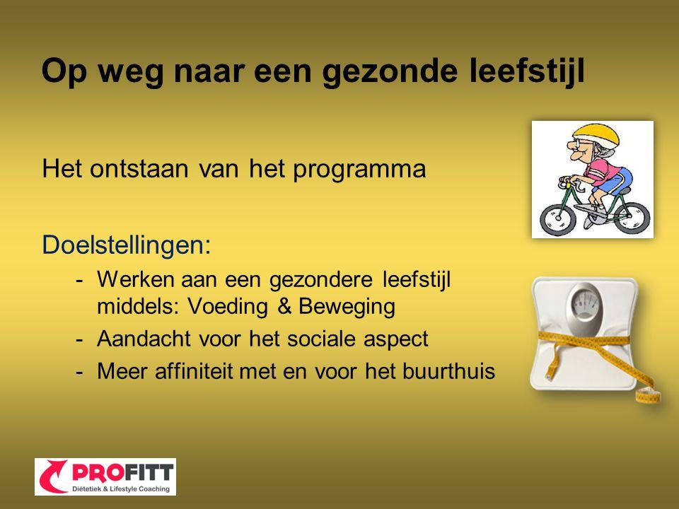 Op weg naar een gezonde leefstijl Het ontstaan van het programma Doelstellingen: -Werken aan een gezondere leefstijl middels: Voeding & Beweging -Aand