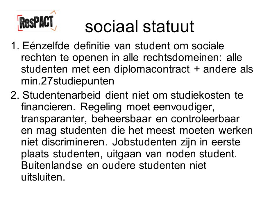 sociaal statuut 1.