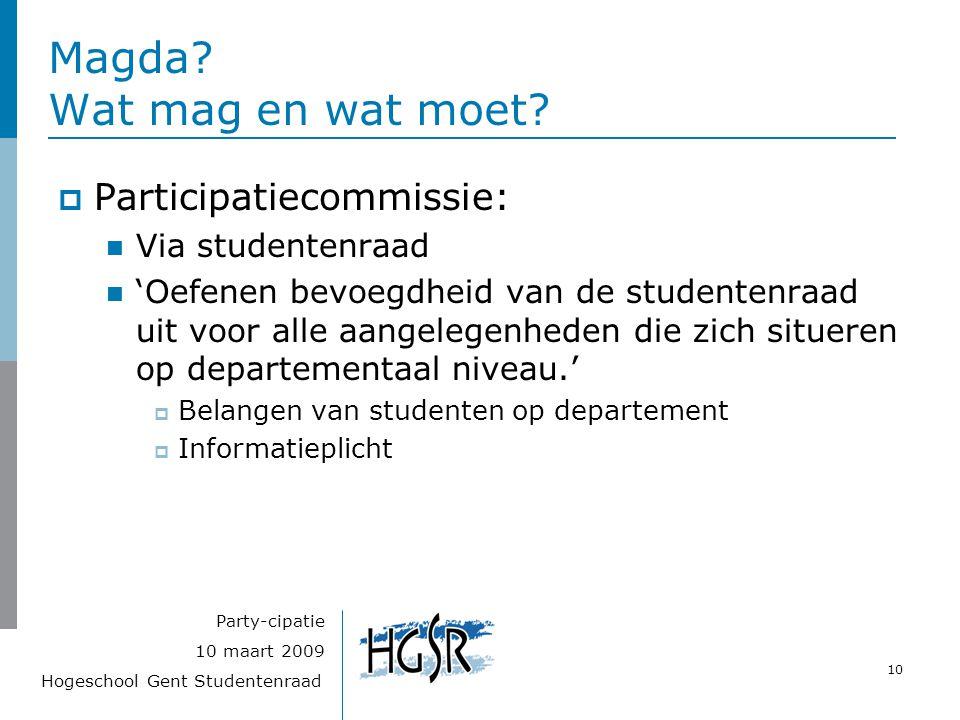 Hogeschool Gent Studentenraad 10 10 maart 2009 Party-cipatie Magda? Wat mag en wat moet?  Participatiecommissie: Via studentenraad 'Oefenen bevoegdhe