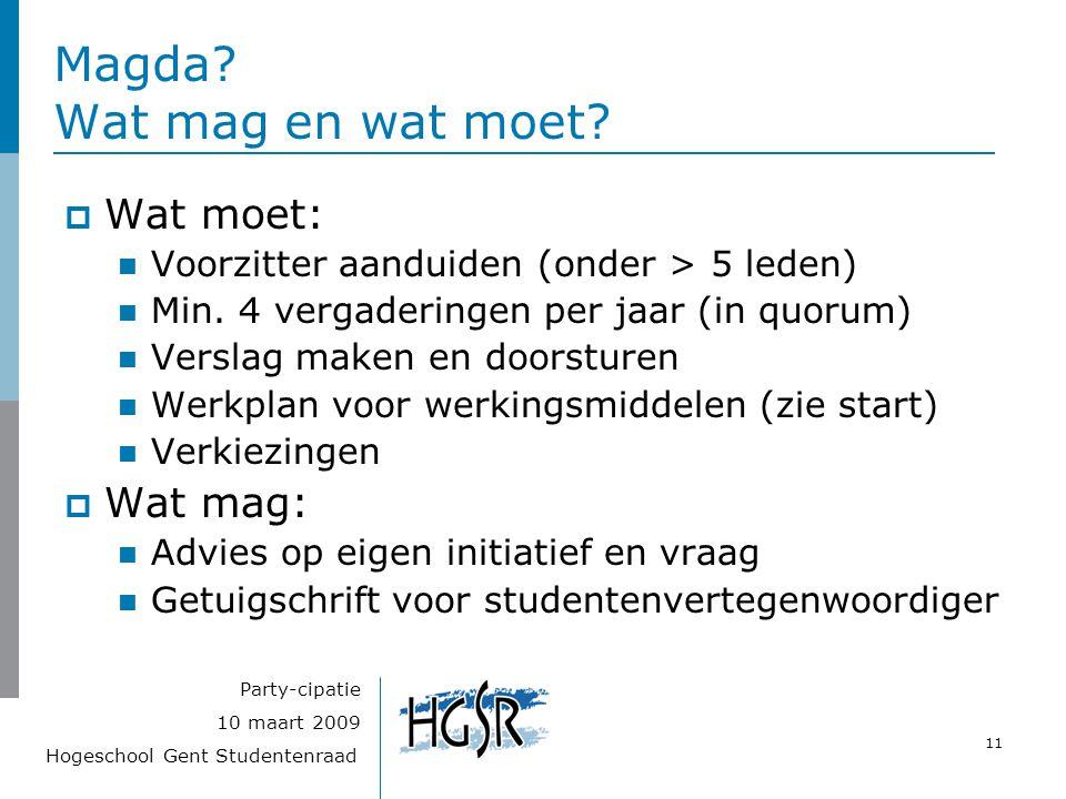 Hogeschool Gent Studentenraad 11 10 maart 2009 Party-cipatie Magda? Wat mag en wat moet?  Wat moet: Voorzitter aanduiden (onder > 5 leden) Min. 4 ver